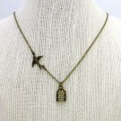 Fly Free Sparrow Bird Cage Charm Necklace (Brass, 18 in, Freedom, Independence)