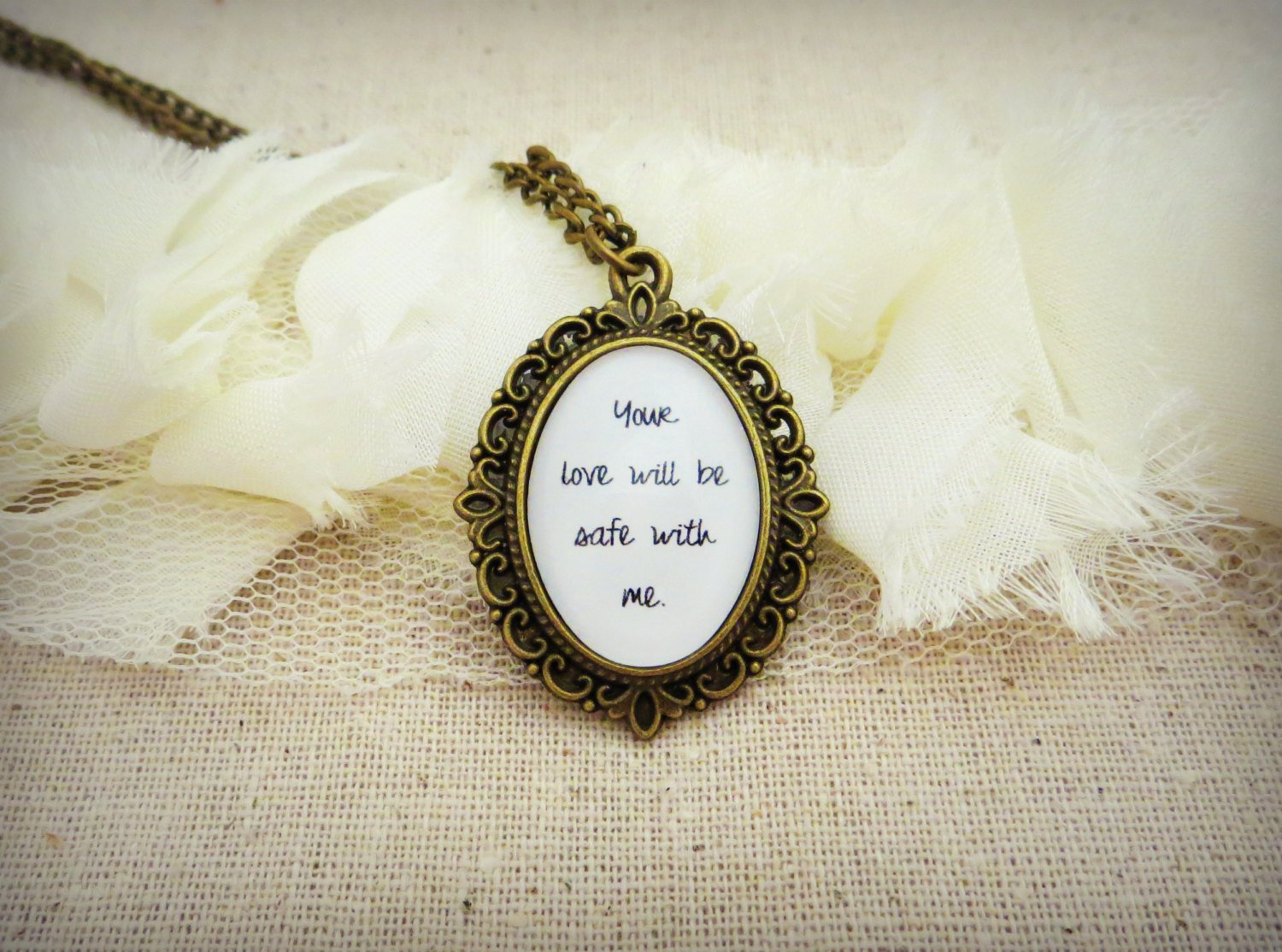 Bon Iver Re: Stacks Inspired Lyrical Quote Pendant Necklace (Brass, 18 inches)