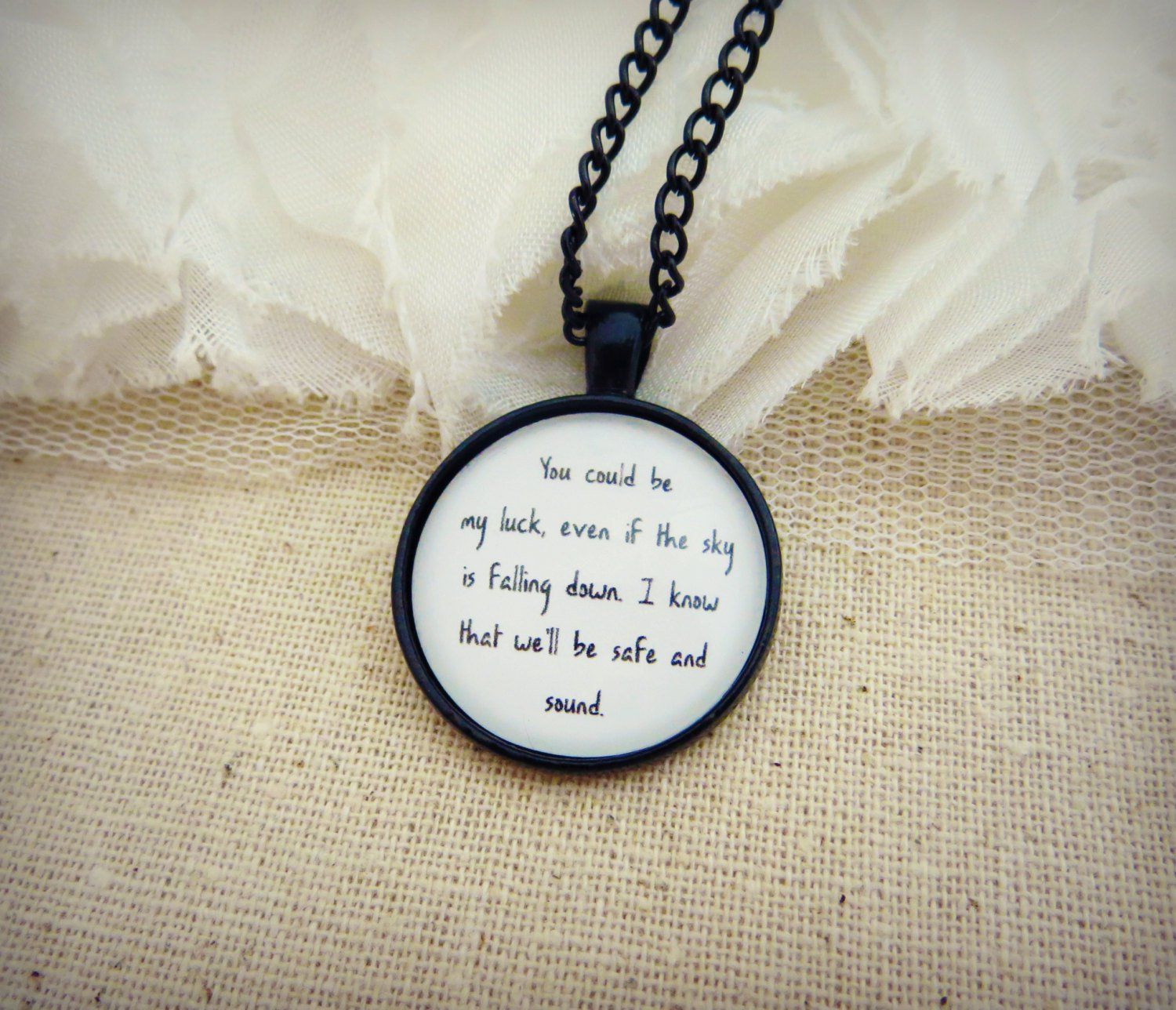 Capital Cities Safe and Sound Inspired Lyrical Quote Pendant Necklace (Black, 18 inches)