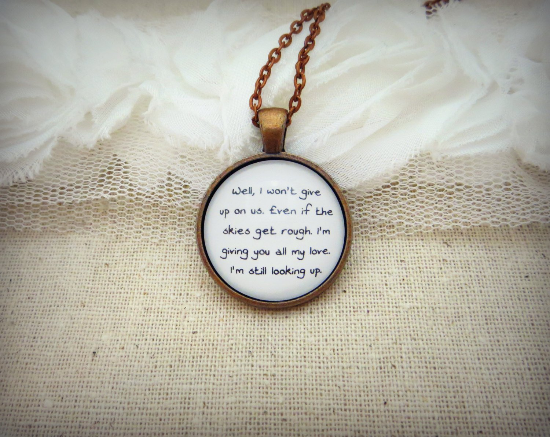 Jason Mraz I Won't Give Up Inspired Lyrical Quote Necklace (Copper, 18 inches)