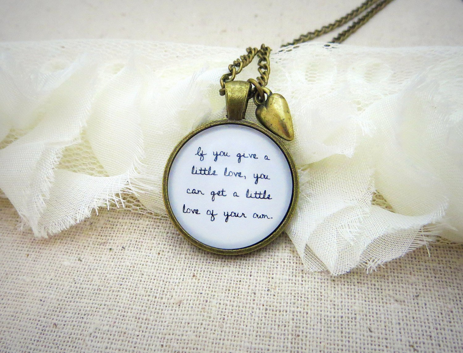 Noah and The Whale Give A Little Love Inspired Lyrical Quote Necklace (Brass, 18 inches)