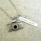 Shooting Sister Hand Stamped Camera Charm Necklace with Swarovski (Silver, 18 inches)