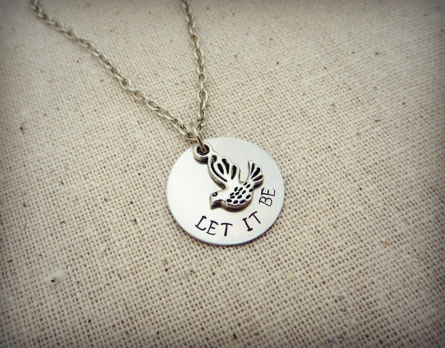 The Beatles Inspired Let It Be Hand Stamped Lyrical Quote Necklace (Silver, 18 inches)