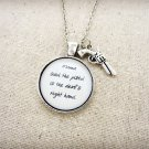 Johnny Cash Devil's Right Hand Inspired Lyrical Quote Necklace (Silver, 18 inches, Gun)