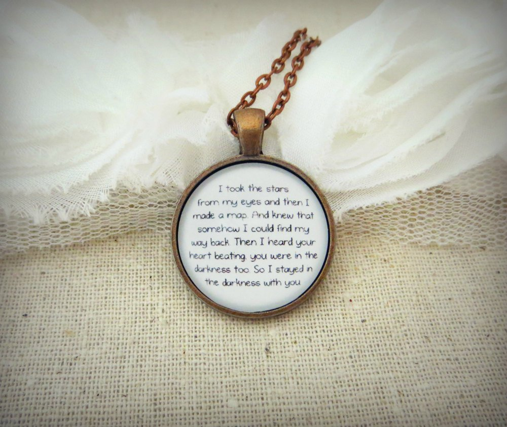 Florence and the Machine Cosmic Love Inspired Lyrical Quote Pendant Necklace (Copper, 18 in)