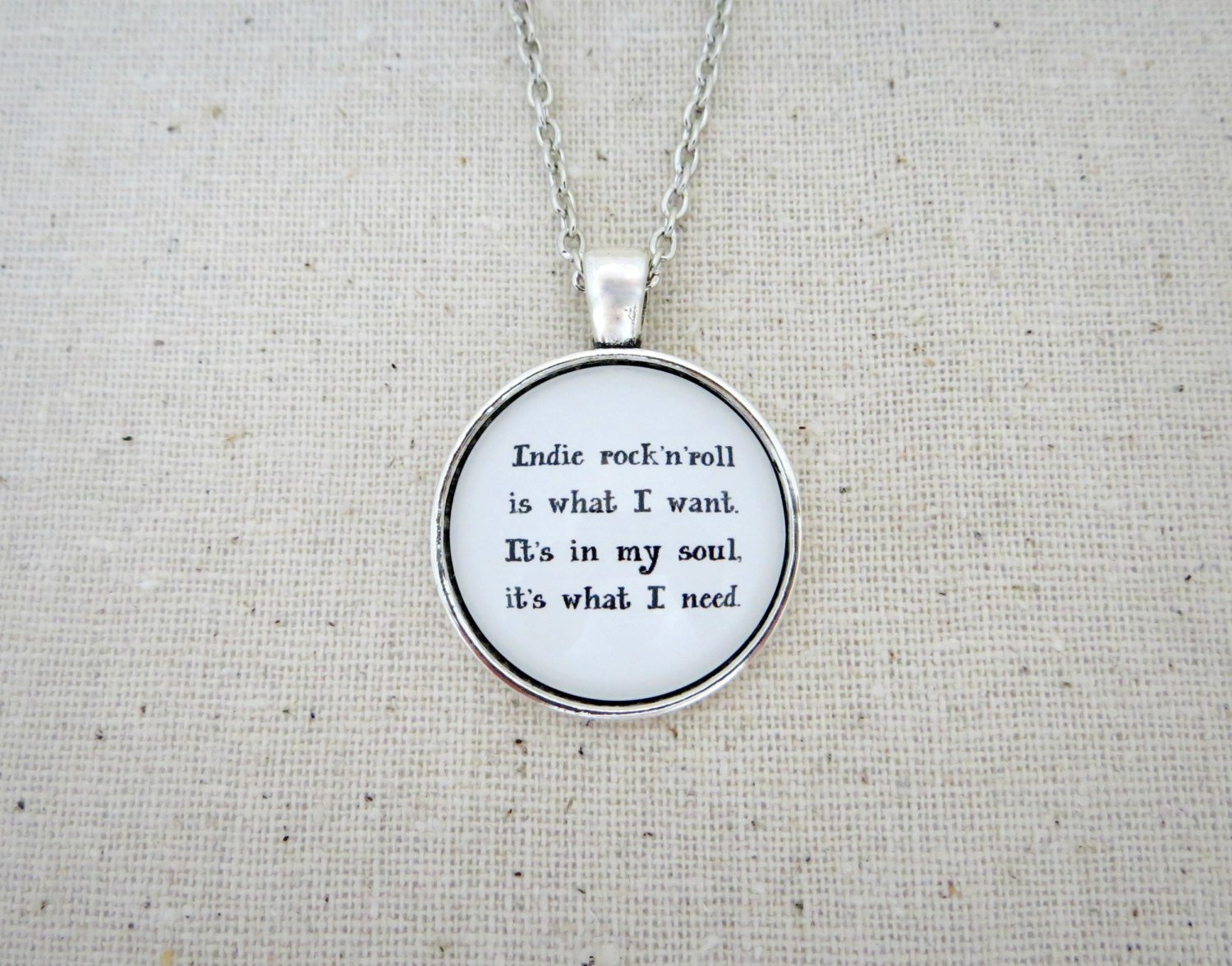 The Killers Indie Rock and Roll Inspired Lyrical Quote Pendant Necklace (Silver, 18 inches)