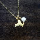 New York State Charm Necklace With Swarovski Pearl (Satin Gold, 18 inches)