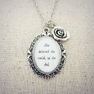 She Believed She Could So She Did Inspirational Quote Pendant Necklace (Silver, 18 inches)