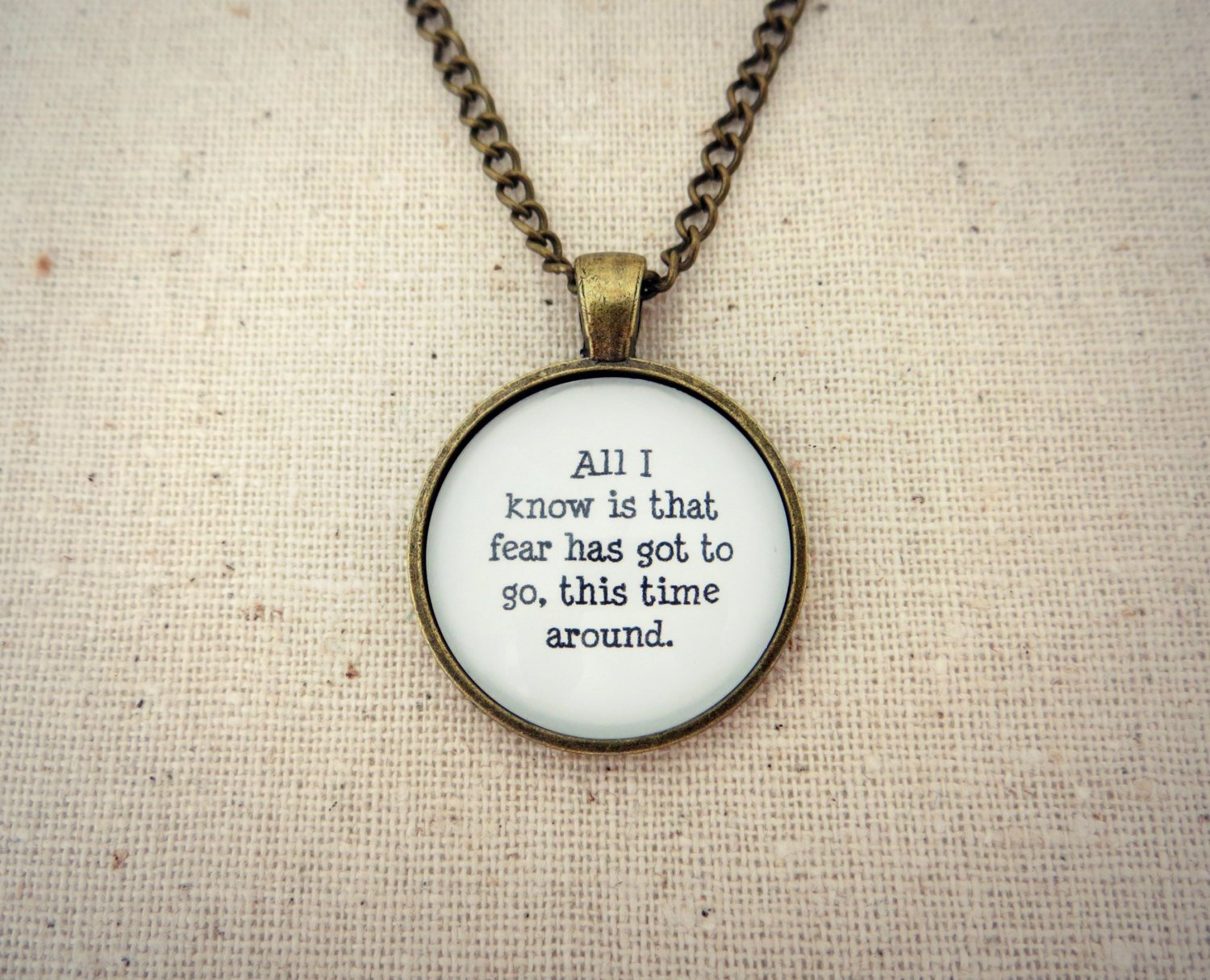 Hanson This Time Around Inspired Lyrical Quote Pendant Necklace (Brass, 18 inches)