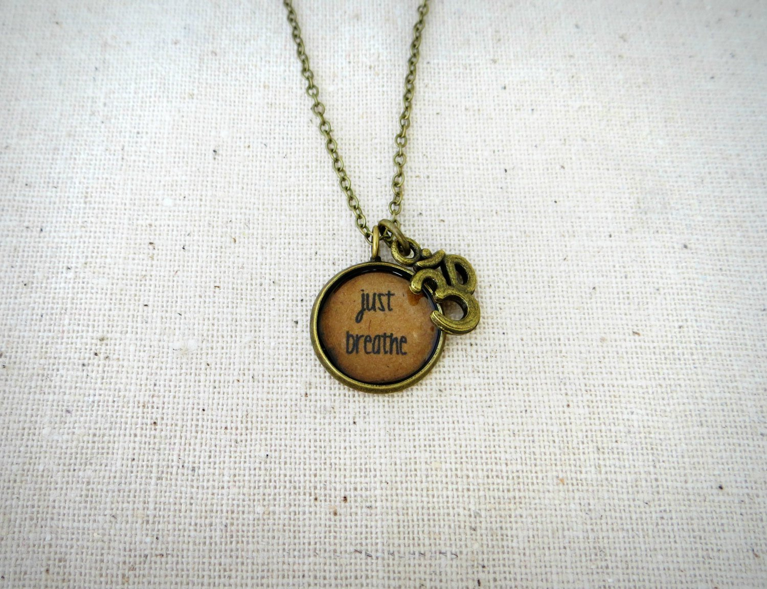 Just Breathe Inspirational Quote Pendant Necklace With Ohm Charm (Brass, 18 inches)