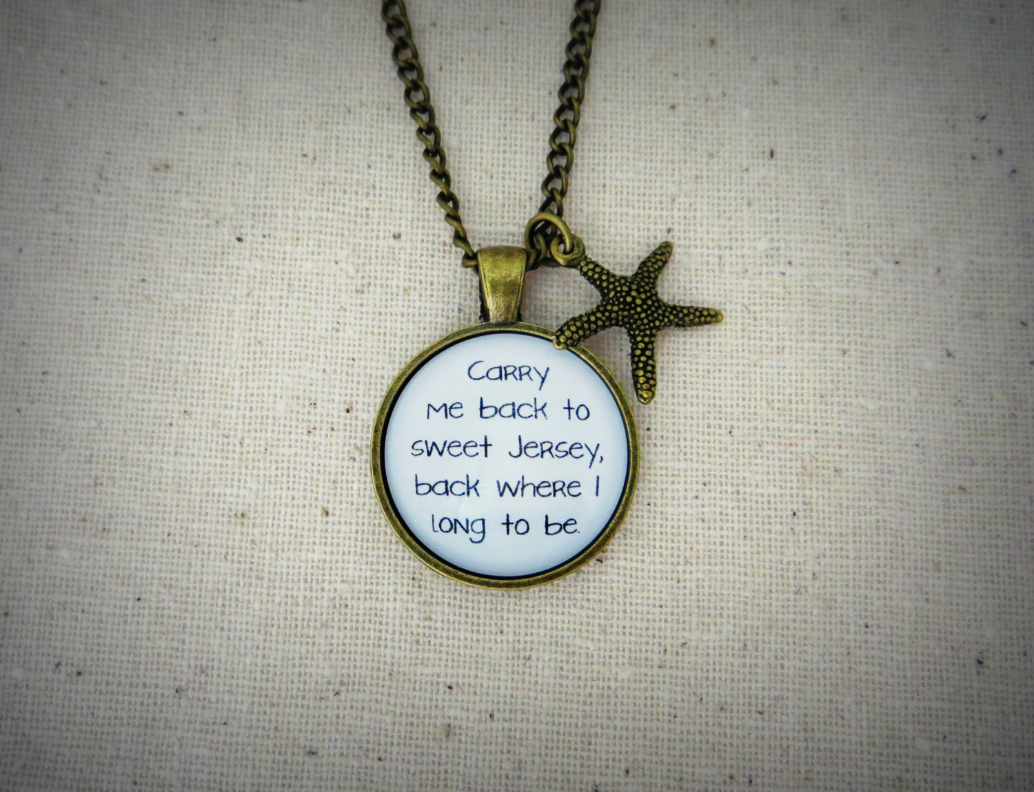 Real Estate Suburban Dogs Inspired Lyrical Quote Necklace with Starfish Charm