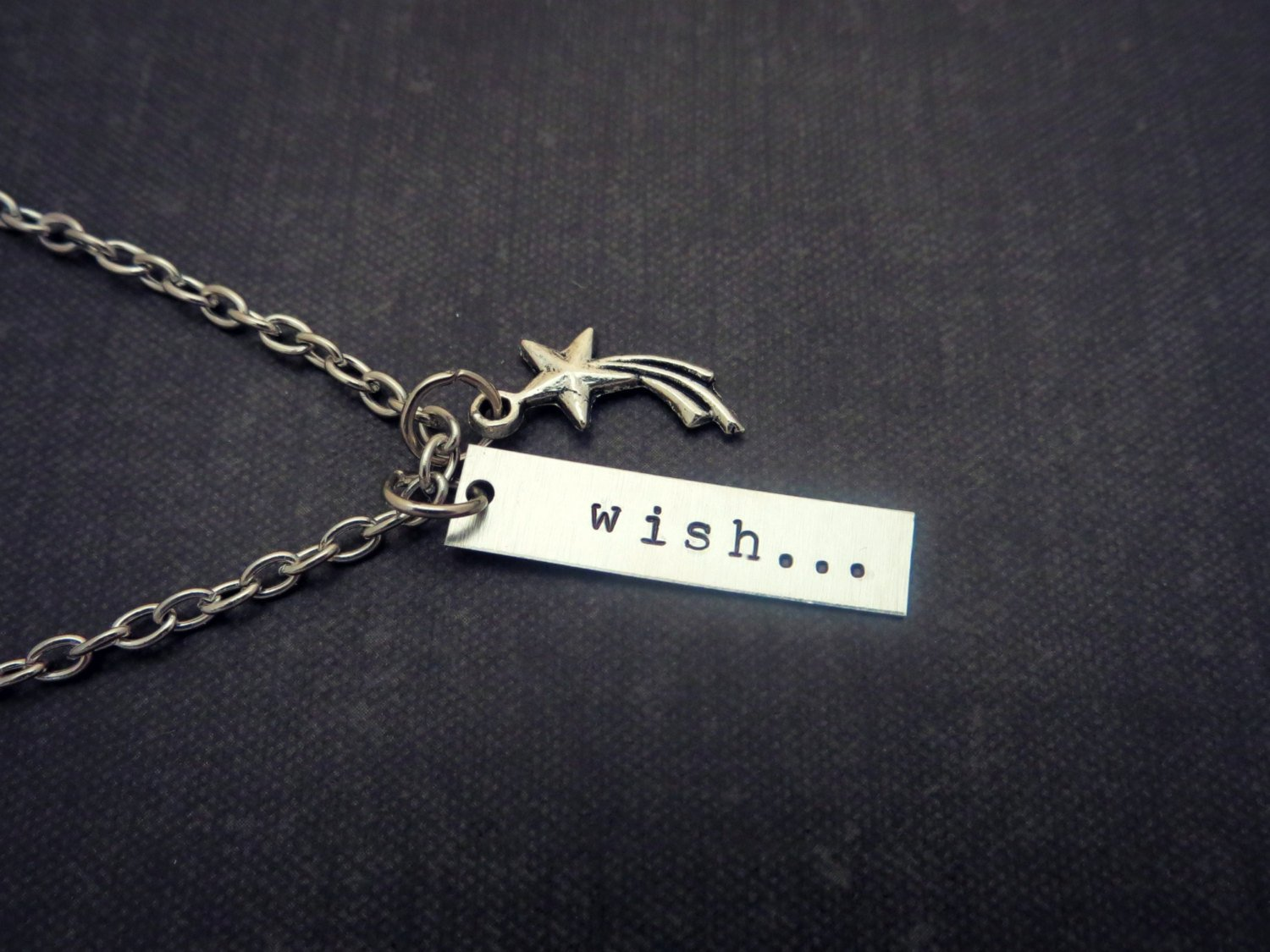 Wish Hand Stamped Necklace With Shooting Star Charm (Silver, 18 inches)