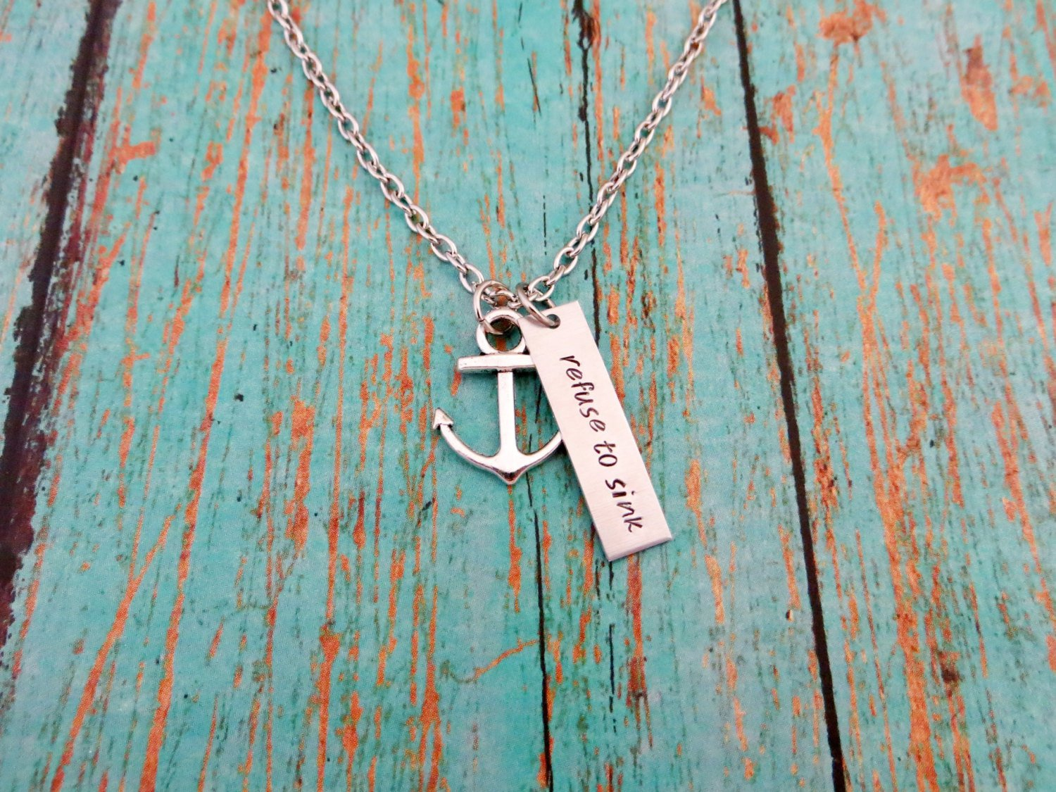 Refuse To Sink Hand Stamped Necklace With Anchor Charm (Silver, 18 inches)
