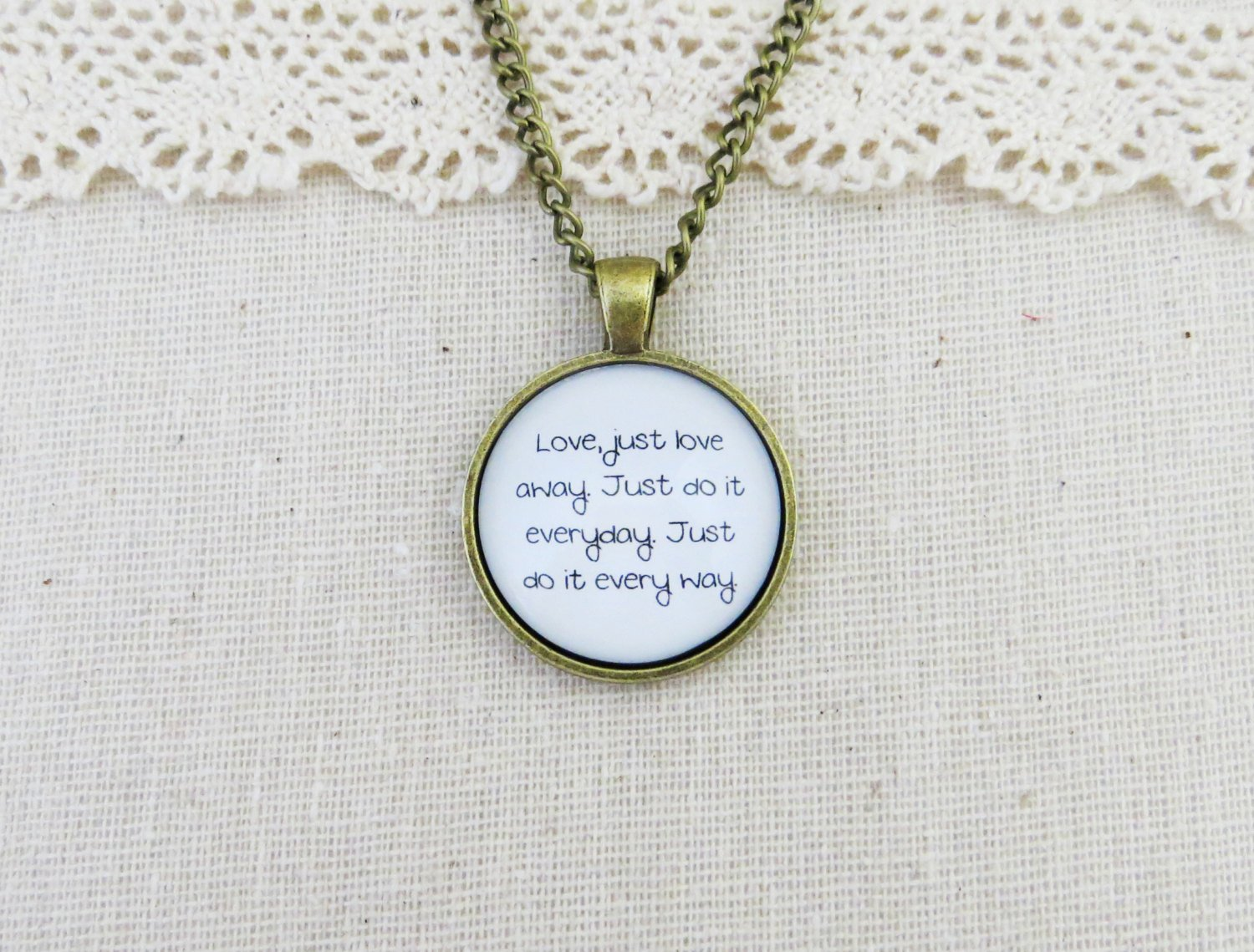 Capital Cities Love Away Inspired Lyrical Quote Pendant Necklace (Brass, 18 in)