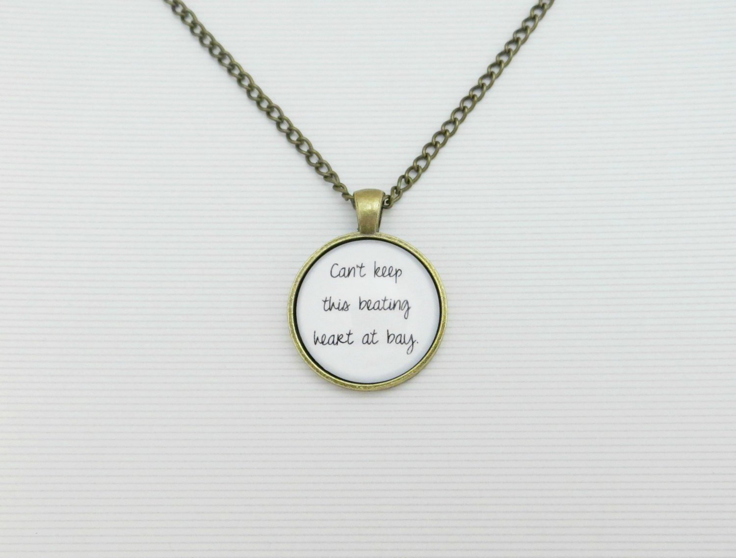 Sam Smith Leave Your Lover Inspired Lyrical Quote Pendant Necklace (Brass, 18 inches)