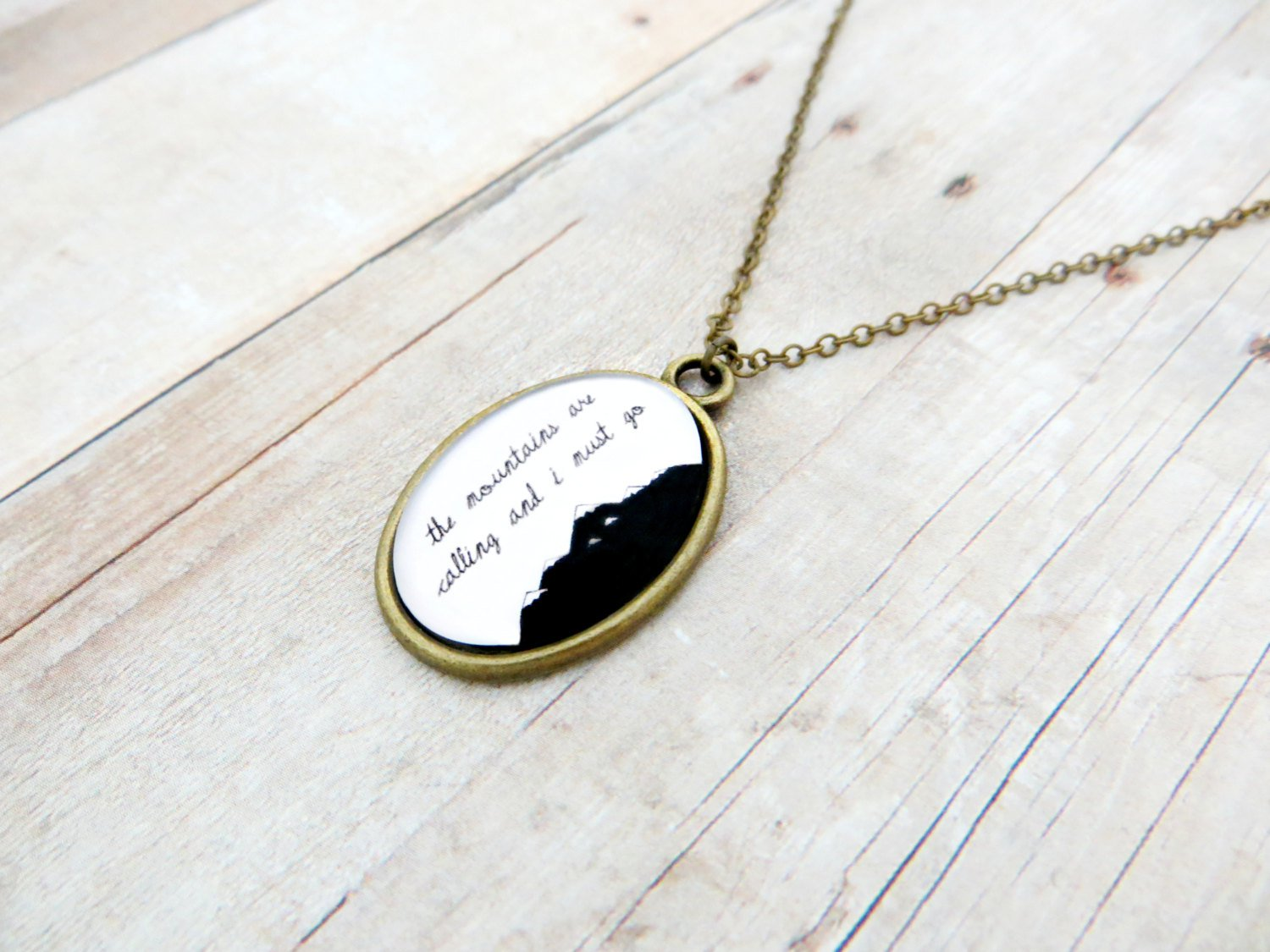 The Mountains Are Calling and I Must Go Inspirational Quote Pendant Necklace (Brass 18 inches)