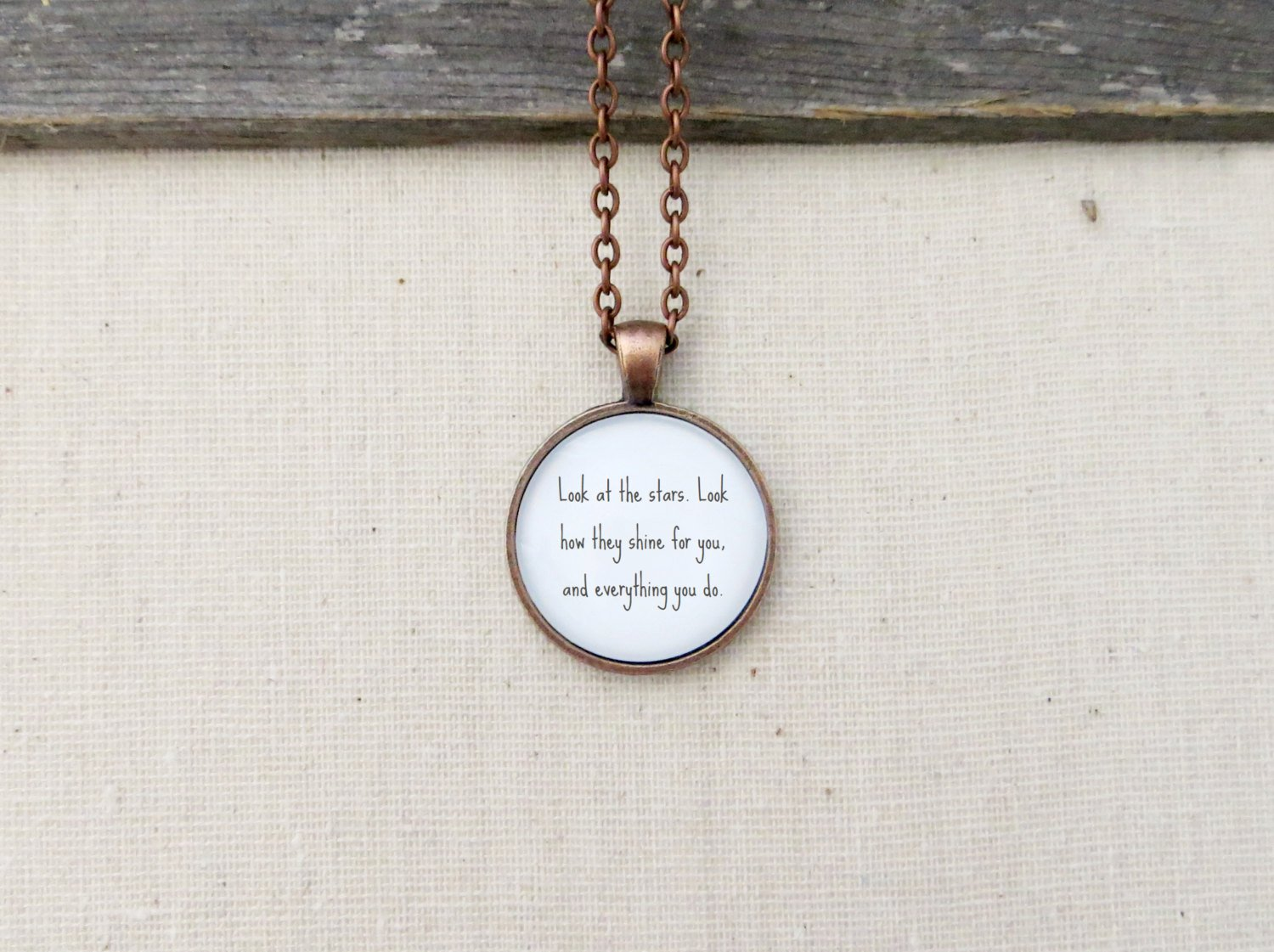 Coldplay Yellow Inspired Lyrical Quote Pendant Necklace (Copper, 18 inches)