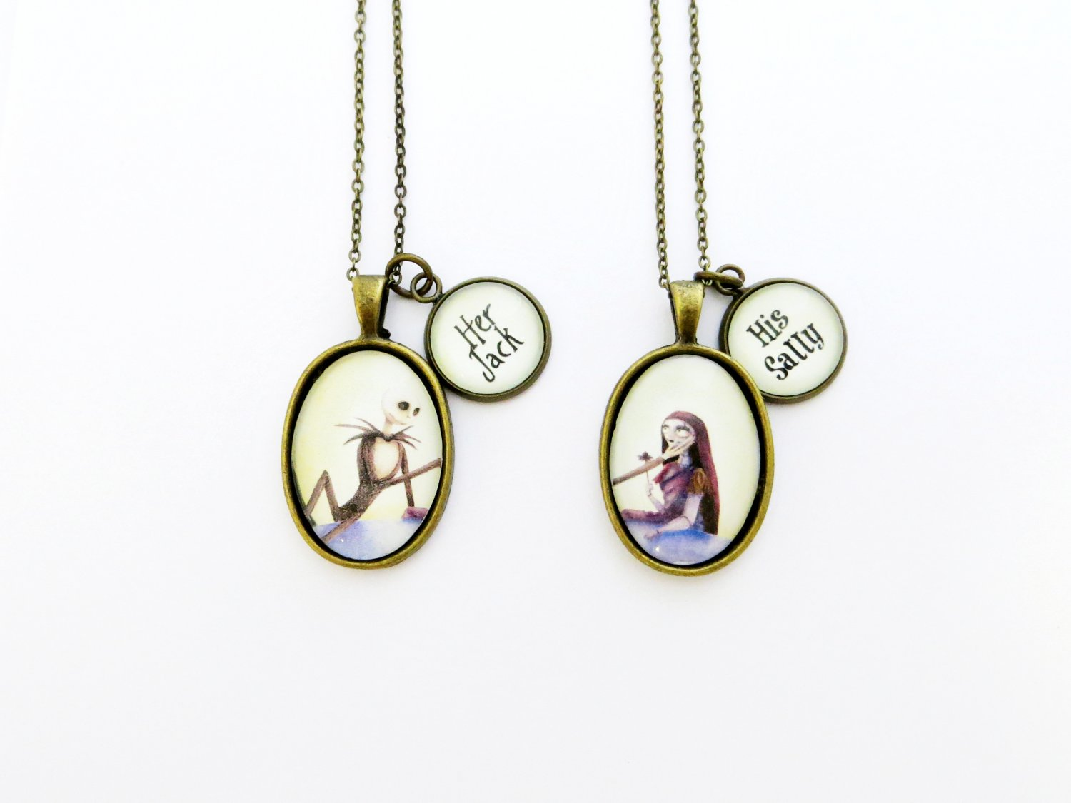 Nightmare Before Christmas Handcrafted Her Jack and His Sally Couples Necklace (Brass, 18 inches)
