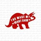 You Make My Heart Saur with Dinosaur Digital File Download (svg, dxf, png, jpeg) [Valentines Day]