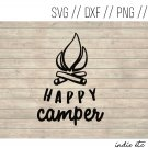 Happy Camper Digital Art File Download with Camp Fire (svg, dxf, png, jpeg)