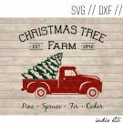 Christmas Tree Farm with Red Truck Digital Art File Download (svg, dxf, jpeg, cut file, template)