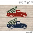 Red Truck and Blue Truck with Tree Digital Art File Download (svg, dxf, jpeg, cut file, template)