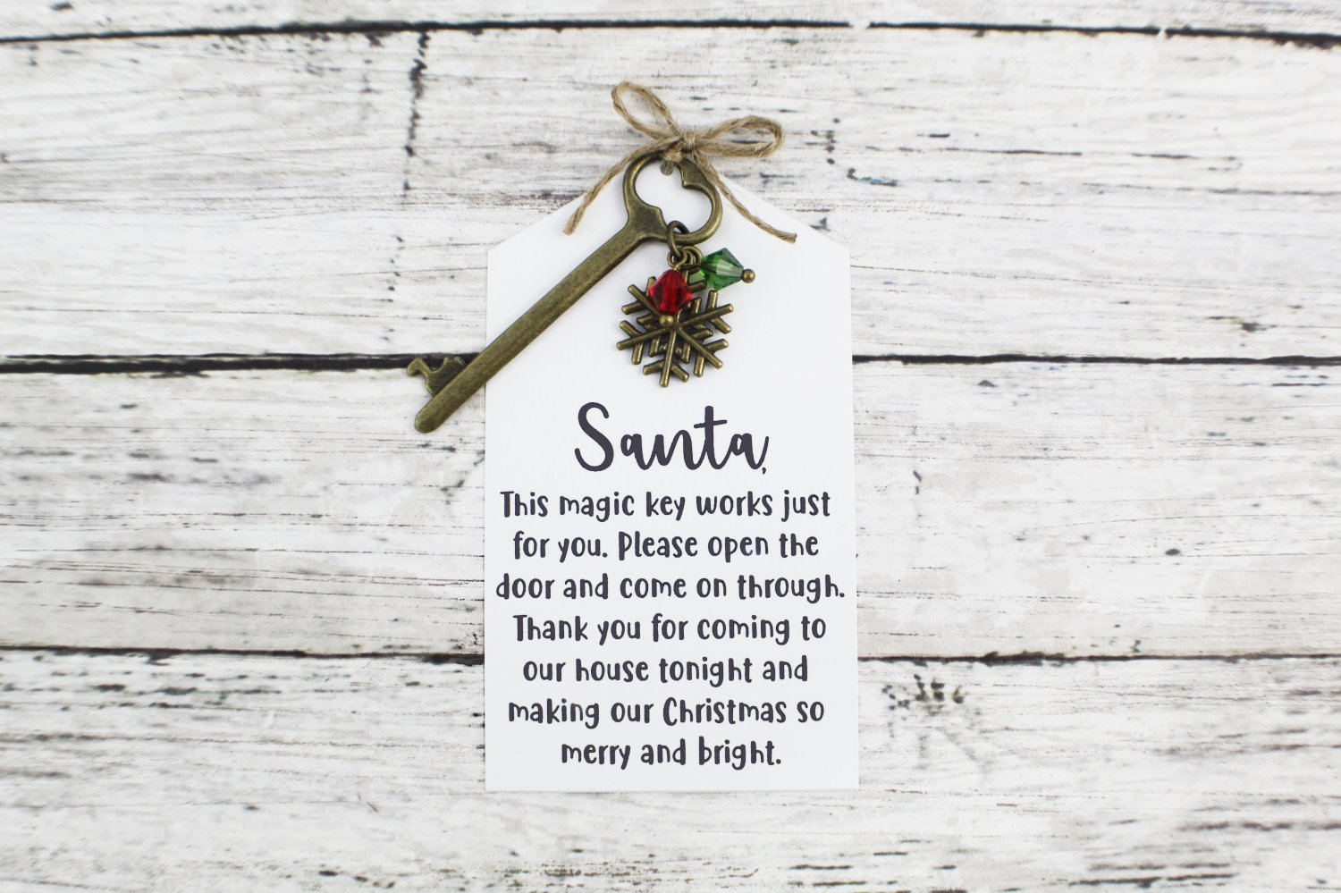 Santa Key with Snowflake Charm and Note - Choose Your Color Key (Silver, Bronze, Santa Note)