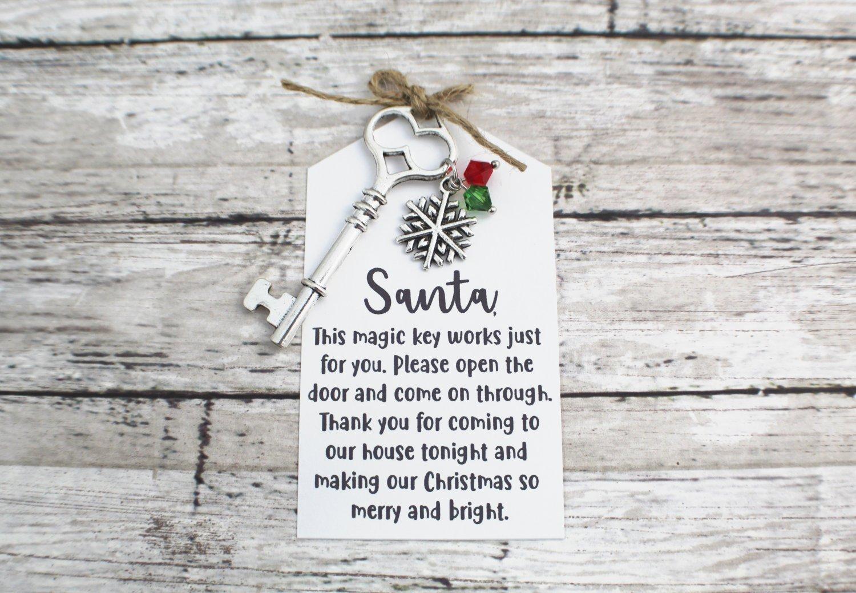 Santa Key with Snowflake Charm and Santa Note - Choose Your Color Key (Silver, Bronze, Santa Note)