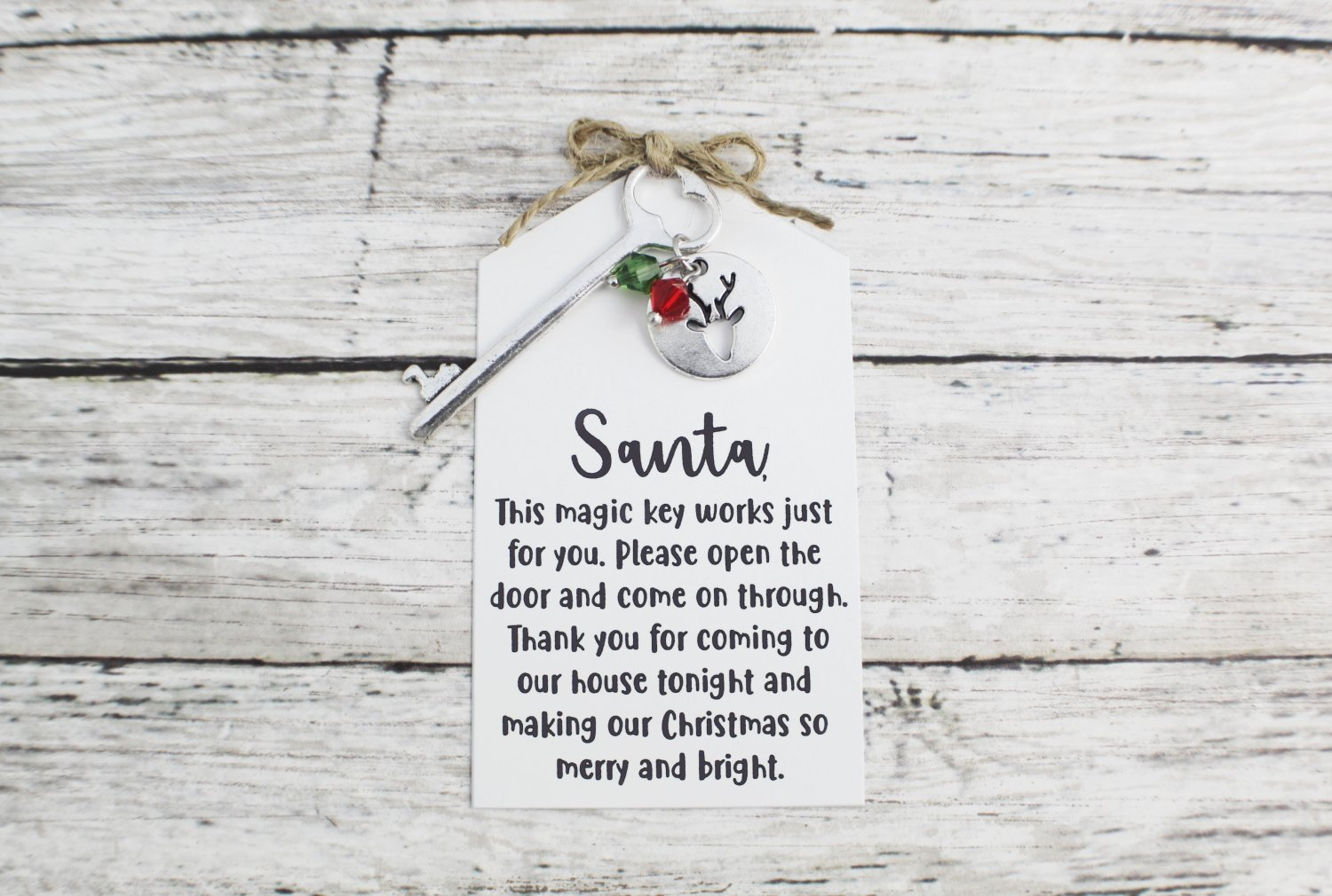 Santa Key with Reindeer Charm and Note - Choose Your Color Key (Silver, Bronze, Santa Note)
