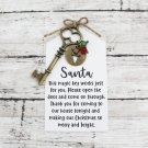 Santa Key with Reindeer Charm and Santa Note - Choose Your Color Key (Silver, Bronze, Santa Note)
