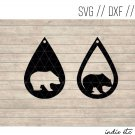 Bear Earring Digital Art File Download (svg, dxf, jpg) Teardrop Leather Earrings, Cut File, Template