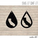 California Earring Digital Art File Download (svg, dxf, jpg) Teardrop Leather Earrings Cut File