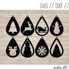 Christmas Earring Digital Art File Download (svg, dxf, jpg) Teardrop Leather Earrings, Cut File