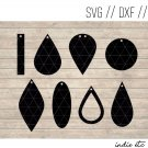 Earring Digital Art File Download (svg, dxf, jpg) Teardrop Leather Earrings, Cut File, Template