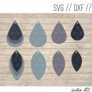Earring Digital Art File Download (svg, dxf, jpg) Layered Teardrop Earrings, Cut File, Template
