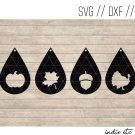 Fall Earring Digital Art File Download (svg, dxf, jpg) Teardrop Leather Earrings, Cut File