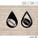 Foortball Earring Digital Art File Download (svg, dxf, jpg) Teardrop Leather Earrings, Cut File