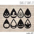 Halloween Earring Digital Art File Download (svg, dxf, jpg) Teardrop Leather Earrings Cut File