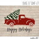 Happy Holidays with Red Truck Digital Art File Download (svg, dxf, jpg, png cut file)