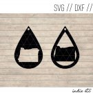 Oregon Earring Digital Art File Download (svg, dxf, jpg) Teardrop Leather Earrings Cut File