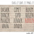 Reindeer Names Digital Art File Download (svg, png, dxf, jpg, cut file, template)