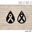 Ribbon Earring Digital Art File Download (svg, dxf, jpg) Teardrop Leather Earrings Cut File