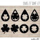 Shamrock Earring Digital Art File Download (svg, dxf, jpg) Teardrop Leather Earrings Cut File