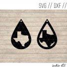 Texas Earring Digital Art File Download (svg, dxf, jpg) Teardrop Leather Earrings Cut File