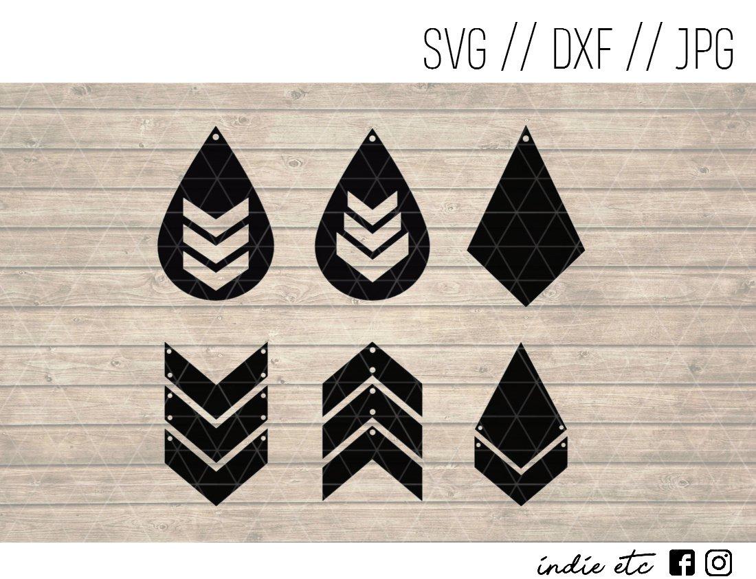 Triangle Earring Digital Art File Download (svg, dxf, jpg) Teardrop Leather Earrings Cut File