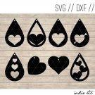 Valentines Earring Digital Art File Download (svg, dxf, jpg) Heart Teardrop Leather Earrings