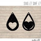 Heart Earring Digital Art File Download (svg, dxf, jpg) Teardrop Leather Earrings Cut File