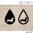 Teardrop Dachshund Earring Digital Art File Download (svg, dxf, jpg) Leather Earrings Cut File