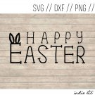 Happy Easter with Bunny Ears Digital Art File Download (svg, png, dxf, jpg, cut file, template)