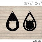 Teardrop Badge Earring Digital Art File Download (svg, dxf, jpg) Leather Earrings Cut File
